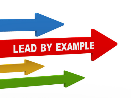 3d illustration of leading red arrow having phrase lead by example.  concept of leadership, teamwork, uniqueness