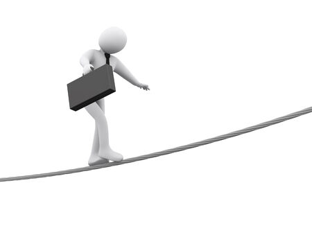 business survival: 3d illustration of person walking on rope.  3d rendering of people - businessman human character Stock Photo