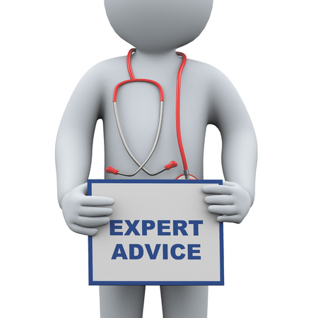advise: 3d illustration of doctor with stethoscope holding up sign banner board of expert advice. 3d rendering of man - people character Stock Photo