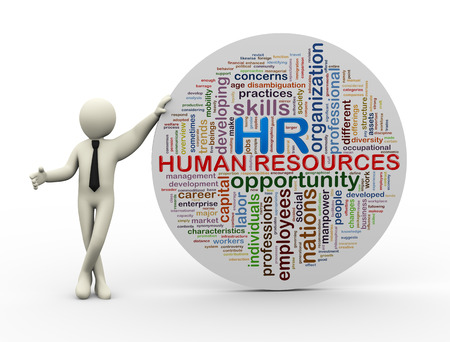 resources management: 3d illustration of person standing with wordcloud word tags of HR human resources.  3d rendering of people - human character.