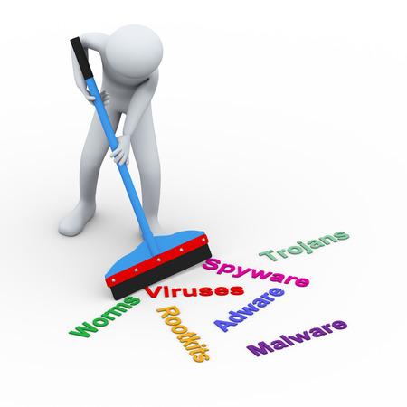 virus informatico: 3d ilustración del hombre con la ayuda de la limpieza del limpiador y la eliminación de la infección de virus informáticos, troyanos, malware, spyware, adware, etc. Representación 3d de carácter de personas humanas.