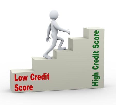 3D-afbeelding van de persoon lopen op de groei van credit score vooruitgang bars. Concept van het hebben van een goede en hoge credit score. 3D-weergave van de menselijke mensen karakter. Stockfoto
