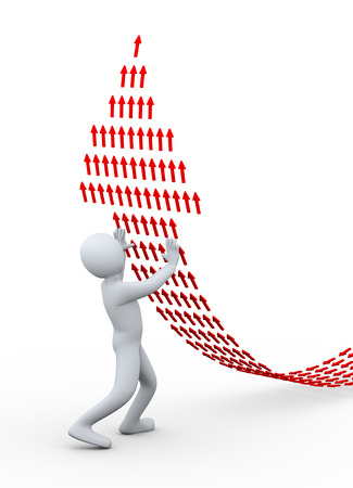 3d illustration of person pushing arrow upward, create with small arrows.  3d rendering of human people character. Stock Photo