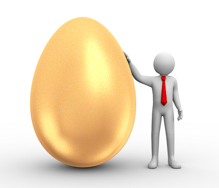 3d illustration of man standing with large shiny golden egg. 3d rendering of human people character.