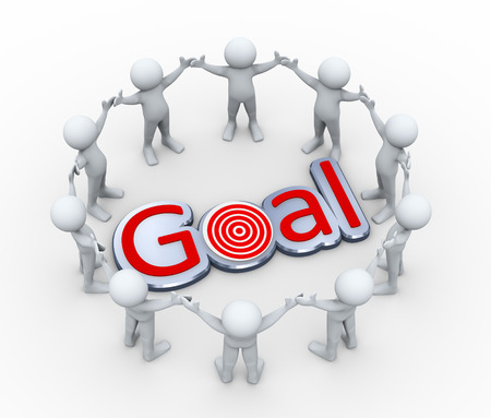 3d illustration of men together  in circle around word goal.  3d rendering of human people character and concept of goal achievement.