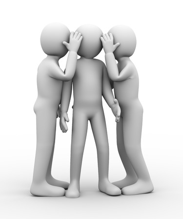whispering: 3d illustration of people whispering to another person. 3d rendering of human people character. Stock Photo