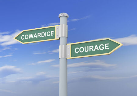 boldness: 3d illustration of roadsign of words cowardice and courage Stock Photo
