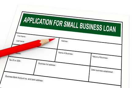 appeals: 3d illustration of red pencil and business loan application.