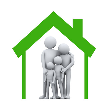 family relationships: 3d illustration of mother and father with their children in house symbol.  3d rendering of people - human character and family love concept.