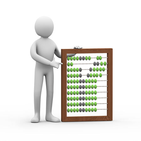 quantity: 3d illustration of person standing with wooden abacus. 3d rendering of human people character