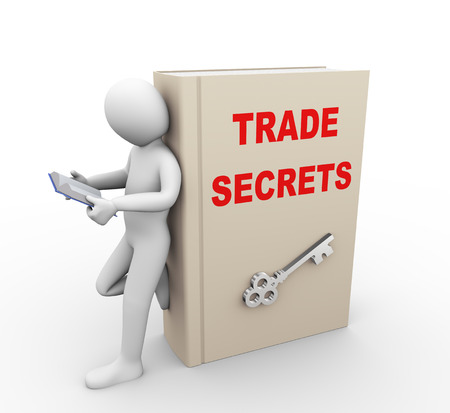 secret information: 3d illustration of man reading book and standing with large book of trade secrets.  3d rendering of people - human character.