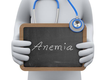 anaemia: 3d ilustraci�n m�dico sosteniendo pizarra anemia. Representaci�n 3D de gente humana del car�cter del hombre persona.