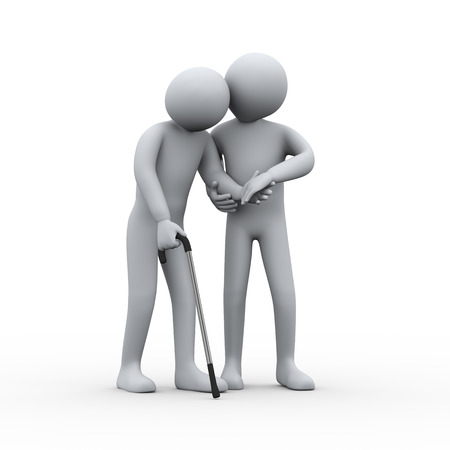 3d illustration of man supporting and helping an old man for walking. 3d rendering of people - human character. Stock Photo