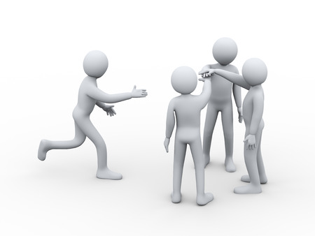 altogether: 3d illustration of person running to join group of people for team work. 3d rendering of people - human character.