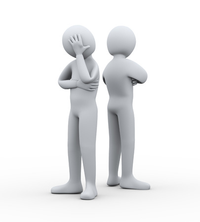 separate: 3d illustration of man having conflict and dispute with another person. 3d rendering of people - human character.