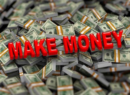 money packs: 3d illustration of make money concept on heap of dollar packs background