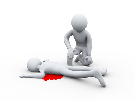 character assassination: 3d illustration of inspector with murder killed man.  3d rendering of human people character.
