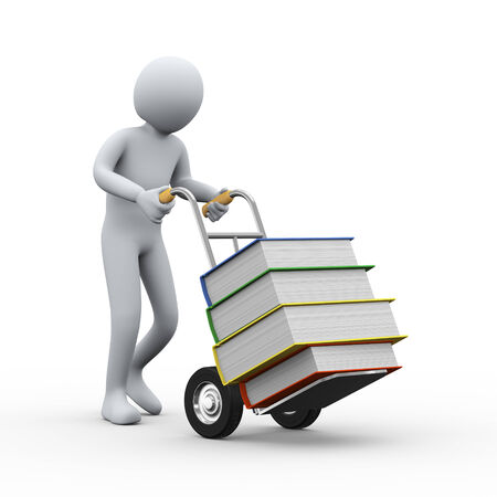 hand truck: 3d illustration of man pushing hand truck with books. 3d rendering of people - human character.