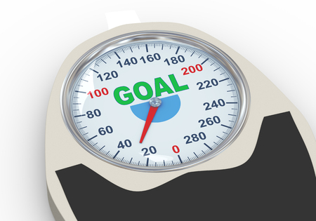 weight machine: 3d illustration of weight scale having word goal. Concept of dieting, exercise and weight loss. Stock Photo