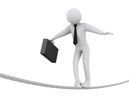3d illustration of businessman walking on rope.  3d rendering of people - businessman human character. illustration