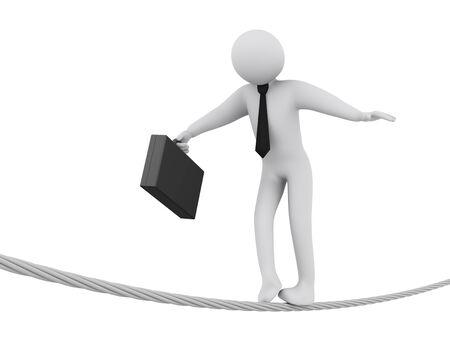 human character: Illustrazione 3D di imprenditore a piedi sulla corda. Rendering 3D di persone - imprenditore carattere umano. Archivio Fotografico