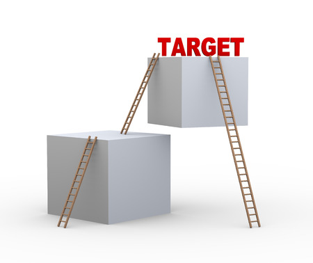 shortcut: 3d illustration of boxes and ladders with word target. Concept of achieveing target faster with shortcut.