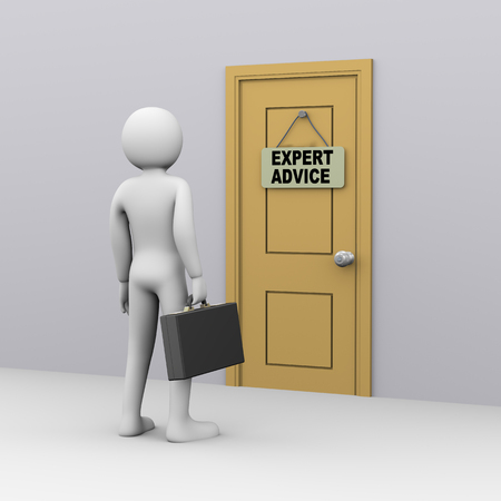 consultancy: 3d illustration of businessman with briefcase in front of door with expert advice tag. 3d rendering of people - human character. Stock Photo