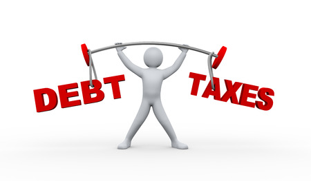 heavy weight: 3d illustration of  man lifting heavy weight word debt and taxes.  3d rendering of people- human character. Stock Photo