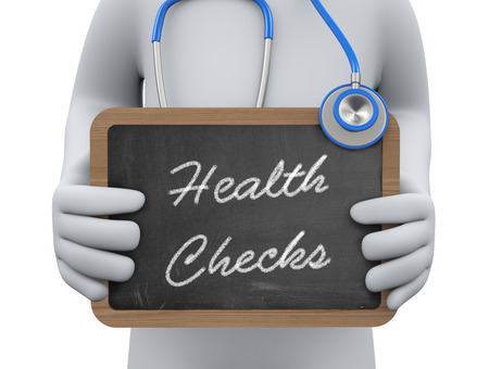 health answers: 3d illustration physician holding health check chalkboard. 3d rendering of man human people person character. Stock Photo