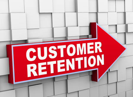 retention: 3d illustration of abstract cube wall arrow design concept of customer retention