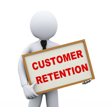 retention: 3d illustration of business person holding board with text customer retention. 3d rendering of people - human character