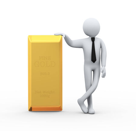 goldbar: 3d illustration of business person with find gold  bar.  3d rendering of human people character Stock Photo
