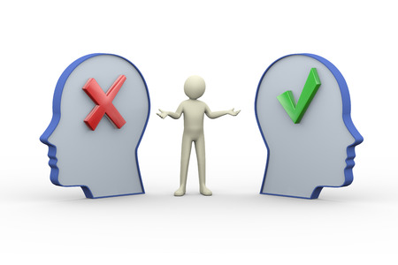 3d illustration of person in between two opposite human heads having correct right tick mark and cross wrong symbol sign.  3d rendering of human people character. illustration