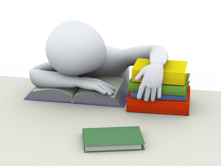 tired man: 3d illustration of tired man sleeping over books at the table. 3d rendering of people - human character