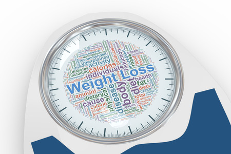 analog weight scale: 3d illustration of bathroom weight scale with weight loss wordcloud dial. Concept of dieting, exercise and weight loss