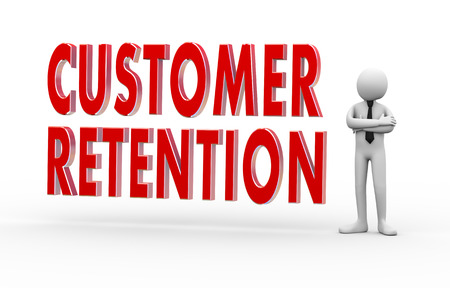 retention: 3d Illustration of man standing with text customer retention. 3d rendering of people - human character Stock Photo