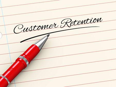 3d render of pen on paper written customer retention photo