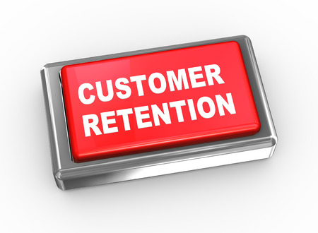 retention: 3d illustration of customer retention button. Stock Photo