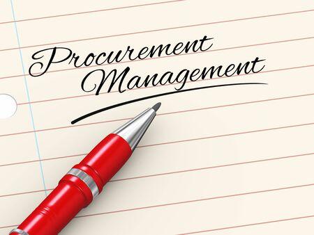 procurement: 3d render of pen on paper written procurement management