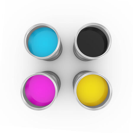 3d illustration of cmyk cyan, magenta, yellow, and key(black) printing color paint bucket cans topview. illustration