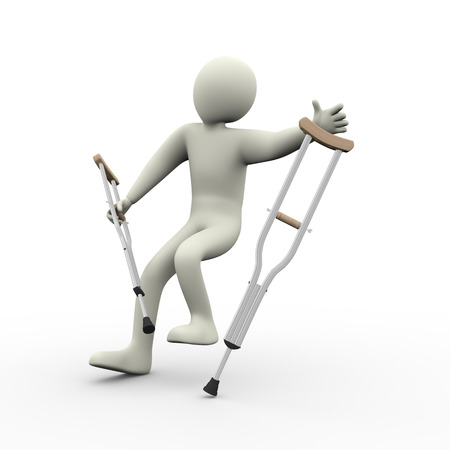3d illustration of disabled man with crutches falling.  3d rendering of human people character illustration