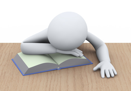 3d illustration of tired student sleeping over book at the table. 3d rendering of people - human character Stock Photo