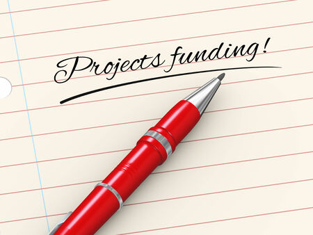 crowd sourcing: 3d render of pen on paper written projects funding Stock Photo