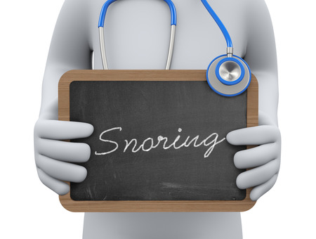 snore: 3d illustration physician holding snoring chalkboard.  3d rendering of man human people person character