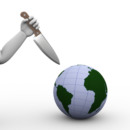 3d illustration of hand holding large knife ready to stab globe world map. Concept of terrorism danger for world Stock Photo