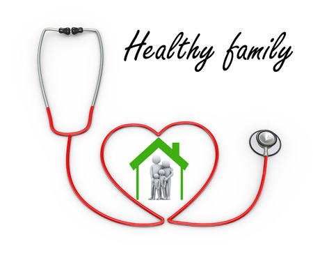 diagnosing: 3d illustration of stethoscope design concept of healthy family.  3d rendering of people - human character and family love concept