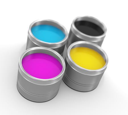 paintbucket: 3d illustration of cmyk cyan, magenta, yellow, and key(black) printing color paint bucket cans