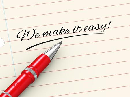 종이에 펜의 3d 렌더링 서면 우리는 쉽게 스톡 콘텐츠