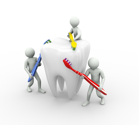 tooth cleaning: 3d illustration of people cleaning and brushing a large tooth with toothbrush. 3d rendering of human people character