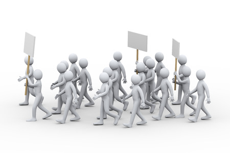unsatisfied: 3d illustration of people with banner and placards protesting and on strike walk.  3d rendering of human people character
